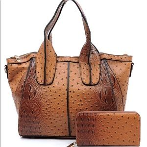 Handbags - Cognac colored 2 in 1 Satchel and Wallet Set