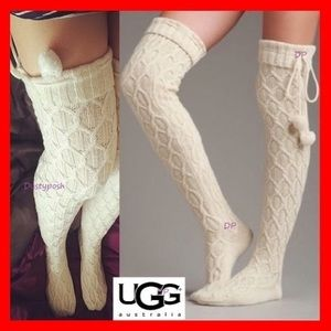 UGG Sparkle Cable Knit Socks Thigh High Over Knee