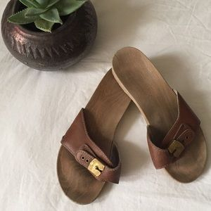 70s Original Dr. Scholl's Sandals with Wood Bottom