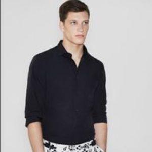 Zara vertical striped dress button down sz L