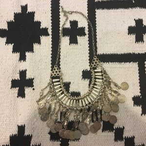 Silver drop coin bib necklace