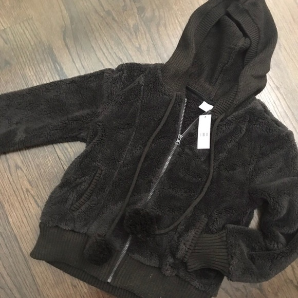 New York & Company Jackets & Blazers - NWT New York & Co Black Faux Fur Hooded Pom Jacket