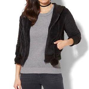 New York & Company Jackets & Coats - NWT New York & Co Black Faux Fur Hooded Pom Jacket