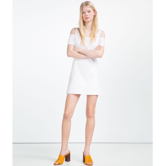 567829932448 Zara Dresses | White Cold Shoulder Textured Weave Mini Dress | Poshmark
