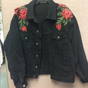 LF Stores Carmar Roses oversize denim jacket SZ M