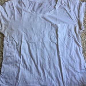 ANA White Short Sleeved Pocket Tee Rolled Arms