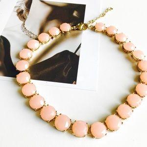HELLO FALLJ. Crew peach round stone necklace