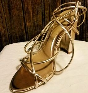 Rose Gold Multi-Strap Sandals