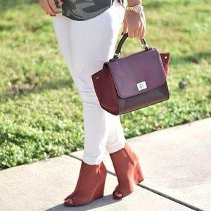Burgundy Mini Trapeze Tote Bag Turnlock Flap