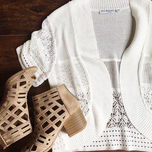 White Lace Crochet Cardigan