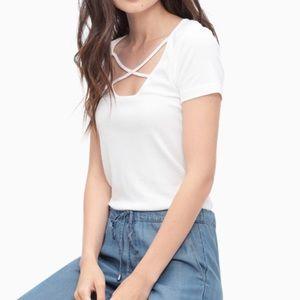 Splendid 1X1 Criss Cross Tee Shirt in White