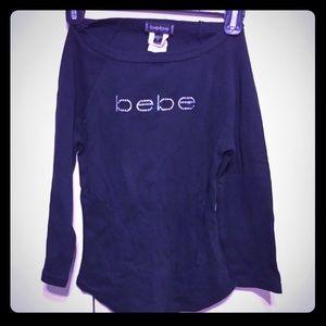 Bebe rhinestone logo shirt