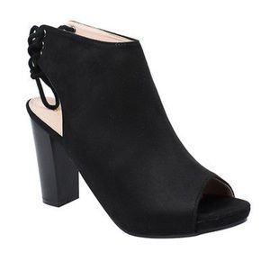 Black Suede Lace-Back Booties! NEW!