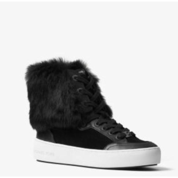 28260660954 🆕 Rare Michael Kors Poppy Real Fur Hi Top Sneaks NWT
