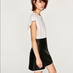 Zara Leather A-line Skirt