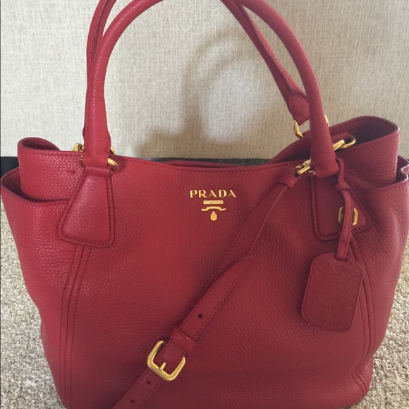 b00c58828e3b Prada Bags | Rubino Vitello Daino Leather Sidepocket Tote Bag | Poshmark