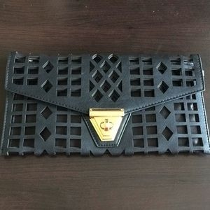 EUC Perforated Black Faux Leather Oversized Clutch