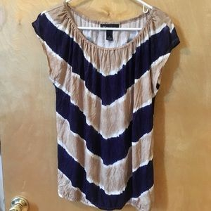 INC International Concepts Tops - Tan and blue chevron top- NWOT