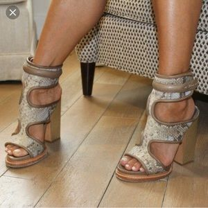 Monika Chiang Faiza Cuff Python Sandals Pumps