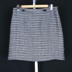 Ann Taylor Loft Black White Tweed Pattern Skirt