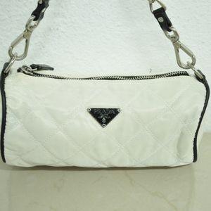 prada mini quilted bag white