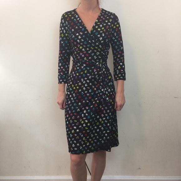 345d106f77b2 Diane Von Furstenberg Dresses   Skirts - DVF Black New Julian Two Rainbow Wrap  Dress