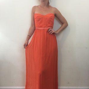 BCBGMaxAzria Amber Orange Strapless Maxi Dress