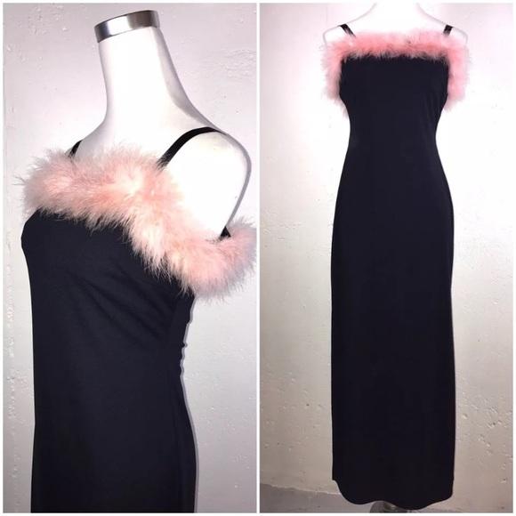 680f25ebab27  Vintage  90s Maraboa Dress Feather Maxi Costume