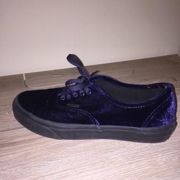 Vans Shoes   Blue Velvet Vans   Poshmark