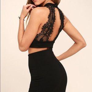 Lulus Chic My Interest Black Lace Two-Piece Dress