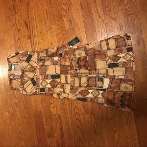 Tan Geometric Print Skirt and Shirt