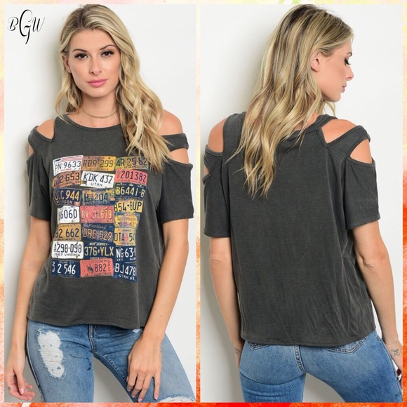 e46f15c35 Sweet Claire Tops   Sale Adorable Cold Shoulder Graphic Tee   Poshmark