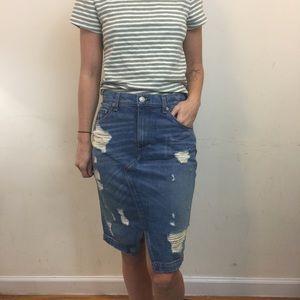 Rag & Bone Denim Shredded Distressed Midi Skirt
