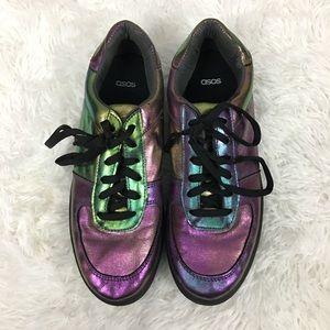 ASOS Shimmery purple/green Platform sneakers