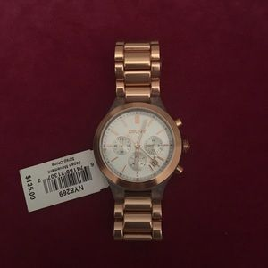 DKNY Rose Gold and clear watch