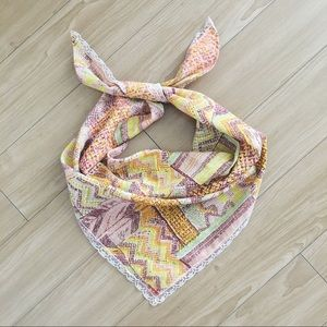Large Vintage 70s Patchwork Pattern Headscarf