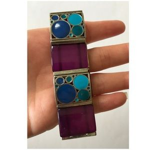 Jewelry - Purple and peacock blue gem elastic bracelets