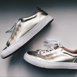 Zara Golden Leather Sneakers