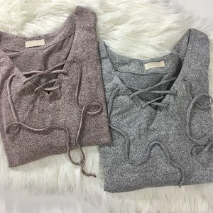 Genoa Lace Up Luxe Comfy Sweater
