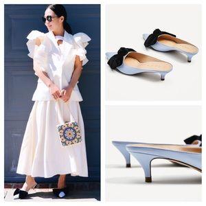 98930475aae Zara Shoes - Zara mule velvet bow blue slingback kitten heel