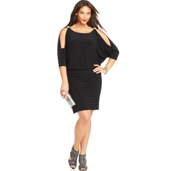 Xscape Dresses Plus Size Cold Shoulder Blouson Dress Poshmark
