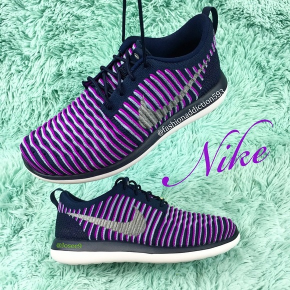 the latest 95c4f 6d623 Nike Roshe two flyknit women s purple sneakers
