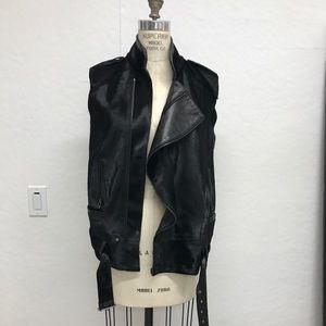Jackets & Blazers - BEAUTIFUL high end blk leather calfskin moto vest