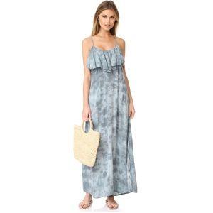 Blue Life Tie Dye Ruffle Maxi Dress nEW