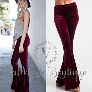 Burgundy Velvet Bellbottoms