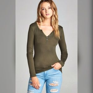 Tops - Olive Long Sleeve Button Top
