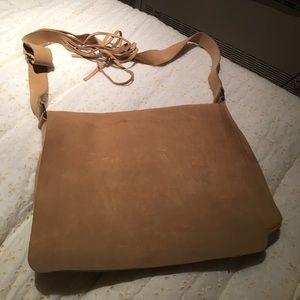 Suede tan leather shoulder bag