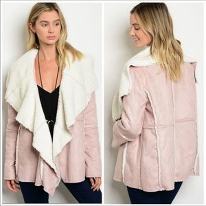 Jackets & Blazers - 🎉HP 🎉LIGHT PINK faux suede shearling jacket coat
