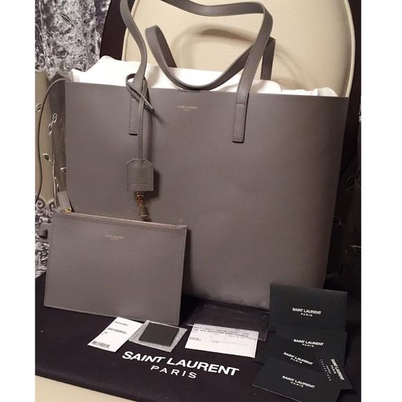 e83c3cab9e1c5 Authentic Saint Laurent Large Shopping Tote Gray