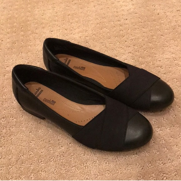fb865a407 Clarks Shoes | Nwot Soft Cushion Black Leather Flats Sz85 | Poshmark